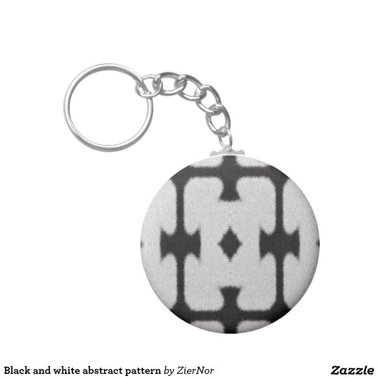Black and white abstract pattern basic round button keychain