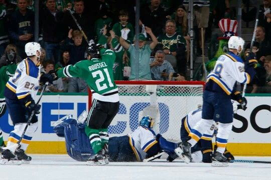 Antoine Roussel scores the first goal in game 1 of round 2 of the Stanley Cup playoffs.