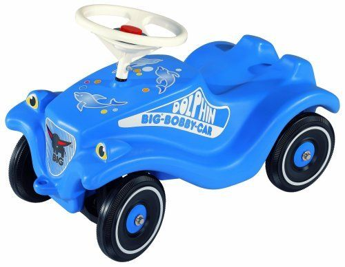 Big Bobby Car Classic Dolphin Blue by Big Products. $96.00. BIG Bobby Cars - This European award-winning push-powered vehicle is perfect for children ages one-year and up. Over six million Bobby Cars have been sold worldwide making it the worlds best selling toy car. What makes these toys so popular is the large steering wheel, comfortable seat and smooth wheel motion. The BIG Bobby Car will turn your driveway into the Autobahn. The functional steering makes kids feel like grown...