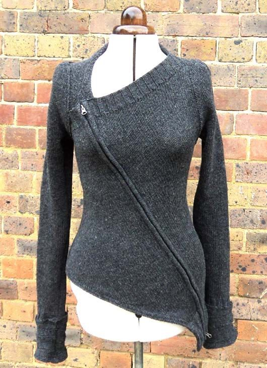 Dark Grey Zip Up Sweater Reserved For MIssisla by sowsearstudio1
