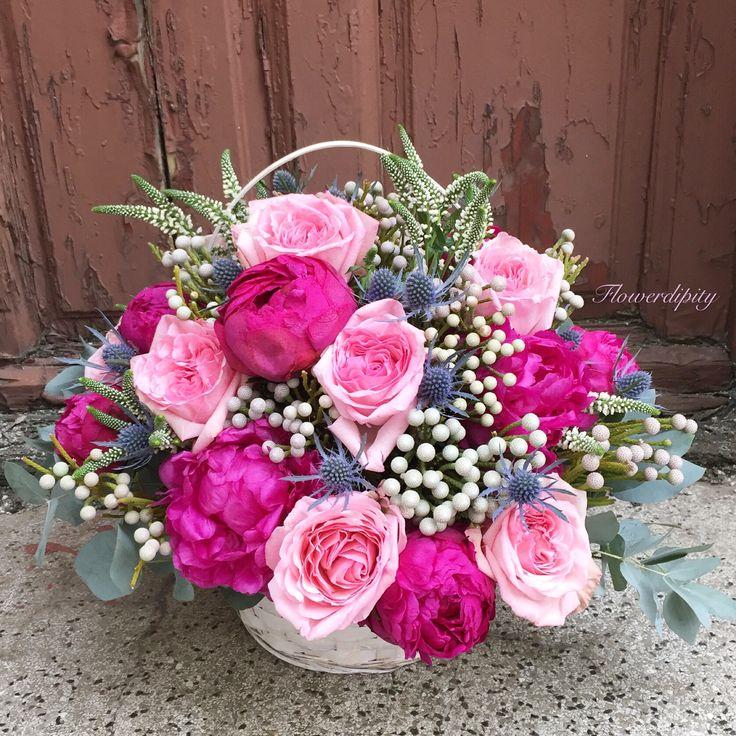 Peonies Symphony  #peonies #roses #pink #grey #doorstep #corporate #flowers #delivery #flowerdipity