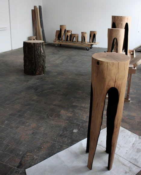 Kaspar Hamacher burns middle out of stumps to make stools. Very pinteresting