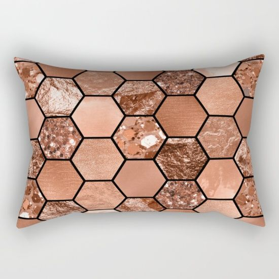 Rose gold geometric cushion cover, rectangular pillow case. Glitter and foil textures printed with hexagon shapes. Peggie Prints on Society 6.