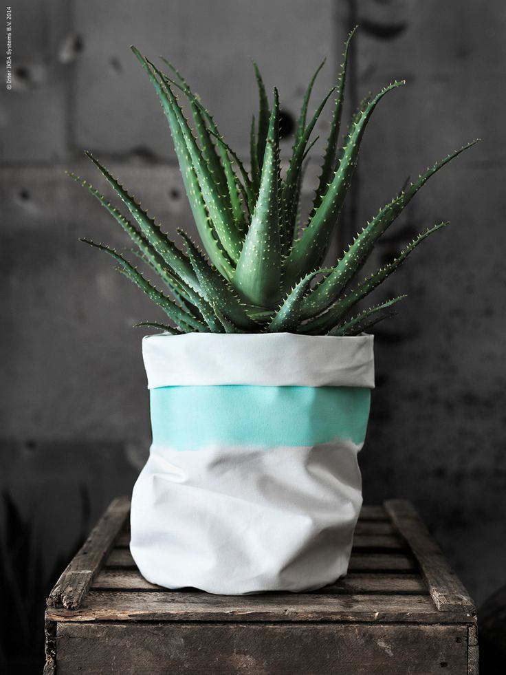 IKEAu0027s Minna Fabric Is A Raw Thick Cotton Thatu0027s A Perfect Material To Make  Textile Pots, Which Are Sewn In A Simple Shape And Placed Around Basic  Planters.