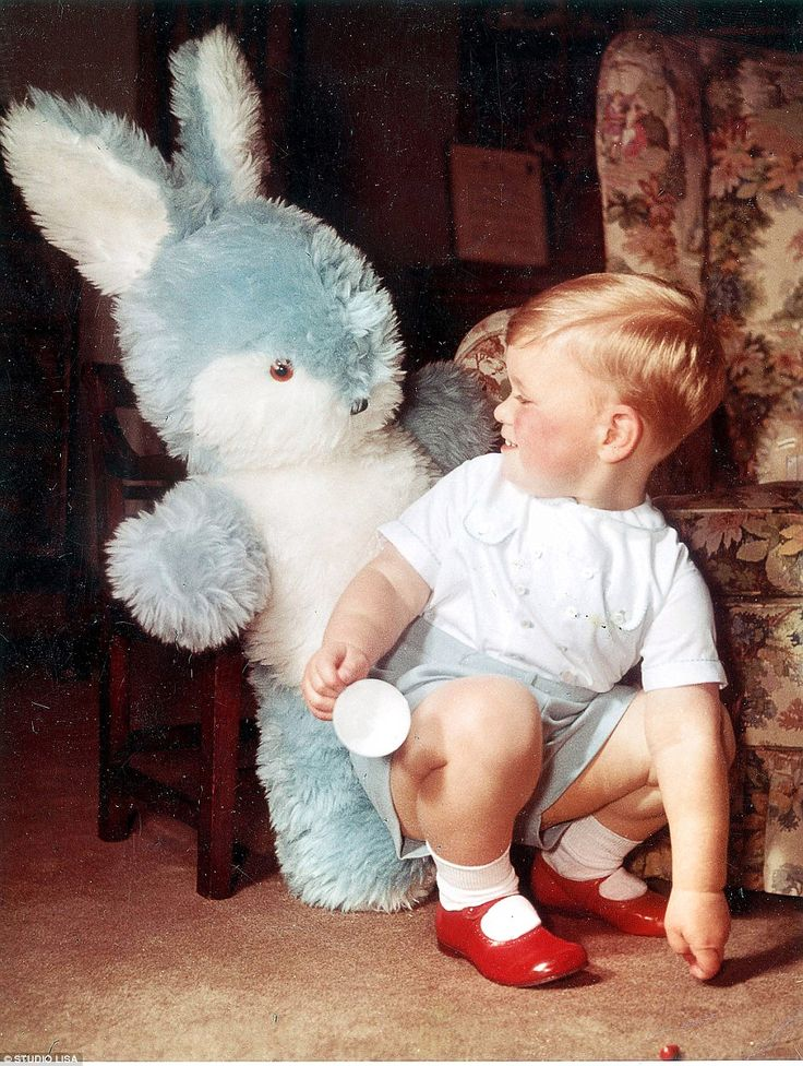 What's up, Doc? Two-year-old Andrew makes friends with a giant toy rabbit