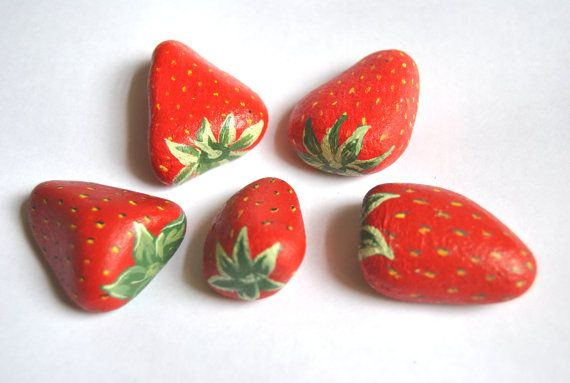 Hand Painted Rocks Berry Red Strawberries. Fruit Stones Spring Garden. ready to ship gift for the gardener via Etsy