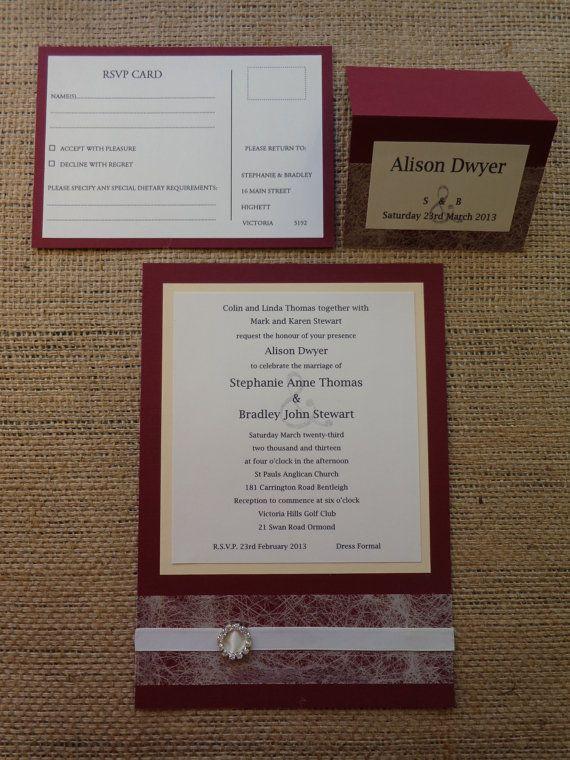 WEDDING INVITATION Elegant Hand Made and by CreateTheDate on Etsy, $10.00