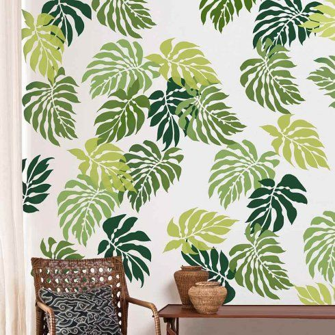 Cutting Edge Stencils - Bermuda Breeze Tropical Wall Pattern Kit  HAha - used to have wallpaper very similar to this in the spare bedroom/ laundry room at the estate house!