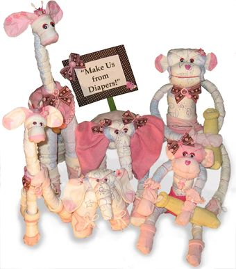 This site has cheap plans for diaper animals instead of the traditional diaper cakes for baby showers!  So many cute ones!