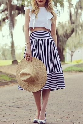 Blue Striped Puff Skirt 12.67