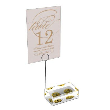 Yellow angry emoticon or smiley table number holder - home decor design art diy cyo custom