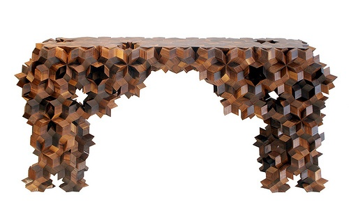 """The Quasi-console by Aranda\Lasch.        """"Unlike a regular crystal, whose molecular pattern is periodic (or repetitive in all directions), the distinctive quality of a quasicrystal is that its structural pattern never repeats the same way twice."""""""