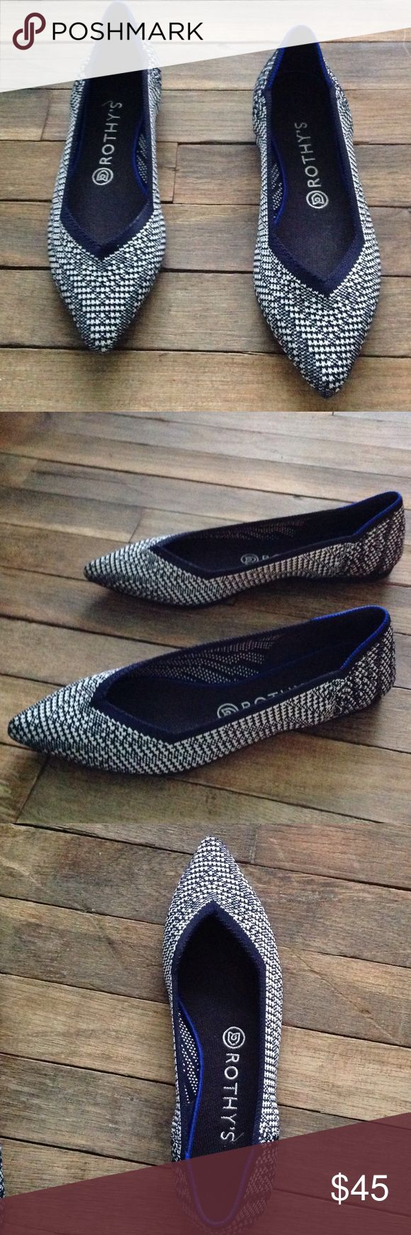 ROTHYS navy blue and white flats ROTHY's sustainable, washable flats made from recycled materials. Navy blue and white with a brighter trim of blue on the heel. In excellent condition. ROTHYS Shoes Flats & Loafers