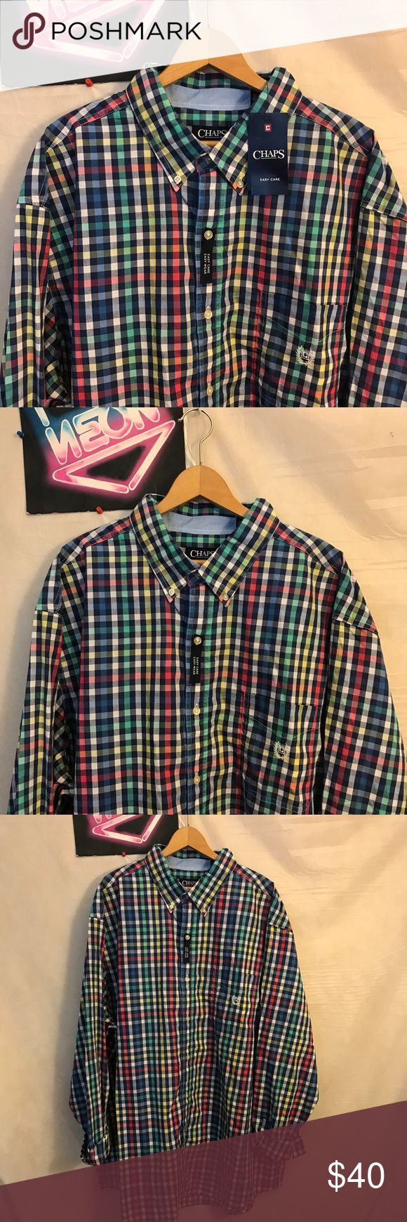 """NWT Chaps Men's  Button Front Shirt Sz 3XLT A1922 NWT Chaps Men's Check Button Front Long Sleeve Shirt Sz 3XLT, pit to pit - 31"""", shoulder to hem - 35"""", new with tags, ships from smoke free facility, thank you Chaps Shirts Casual Button Down Shirts"""