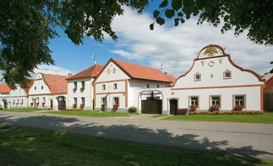 Holašovice, UNESCO heritage village with baroque facades.