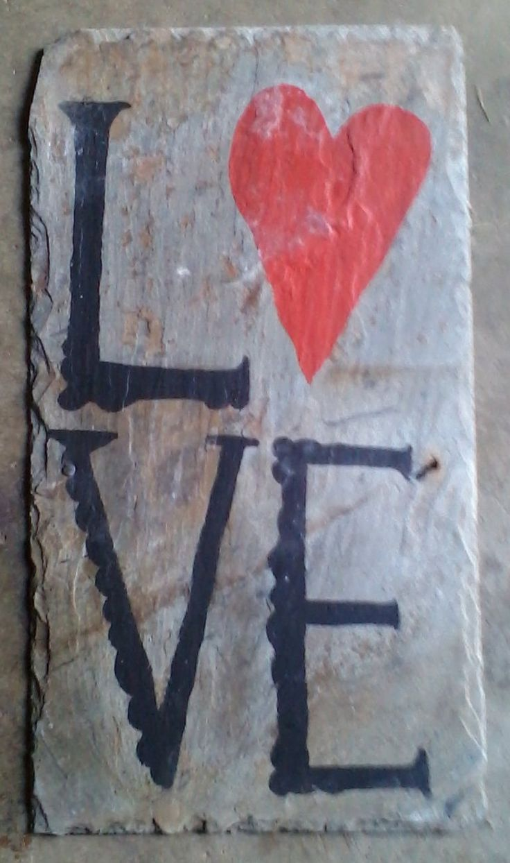 "Hand painted "" Love "" Sign. Barn Slate Shingle by thesunflowerstudios on Etsy"