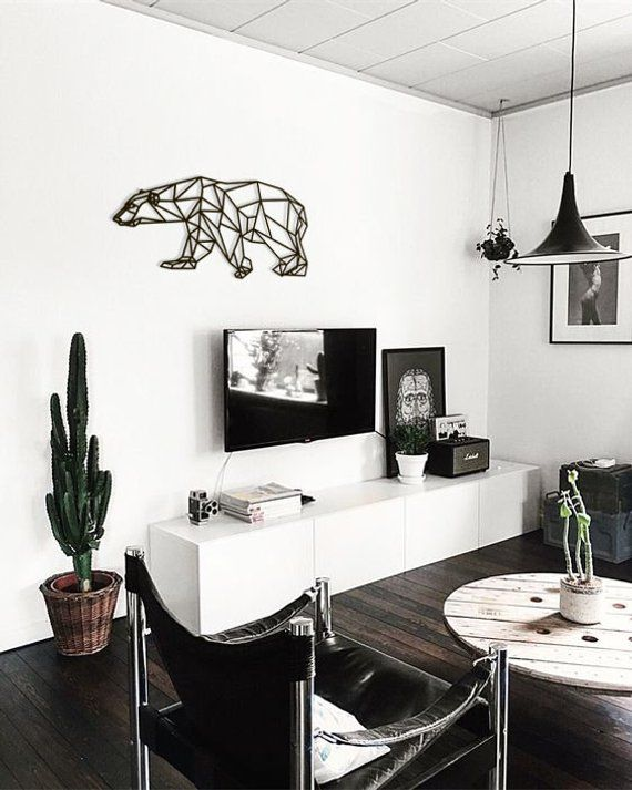 Metal Wall Art Geometric Polar Bear Home Decor Interior Signs Etsy In 2021 House Interior Interior Home Interior Design Bear decor for living room