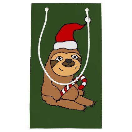 Funny Sloth in Santa Hat Christmas Gift Bag - christmas craft supplies cyo merry xmas santa claus family holidays