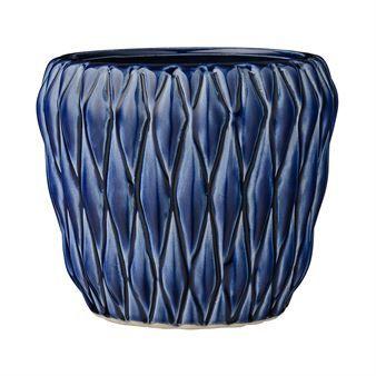 Bloomingville ceramic pot with diamond pattern - navy blue - Bloomingville