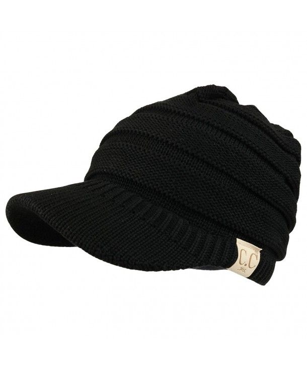 Trendy Apparel Shop Womens Lightweight Ribbed Knit Brim Ponytail Visor Beanie Cap