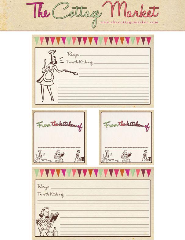28 best Cookbooks  Recipe Cards (Printable) images on Pinterest - recipe card