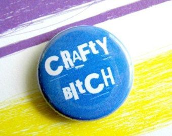 and...artful bitch etc...on badges and notebooks etc