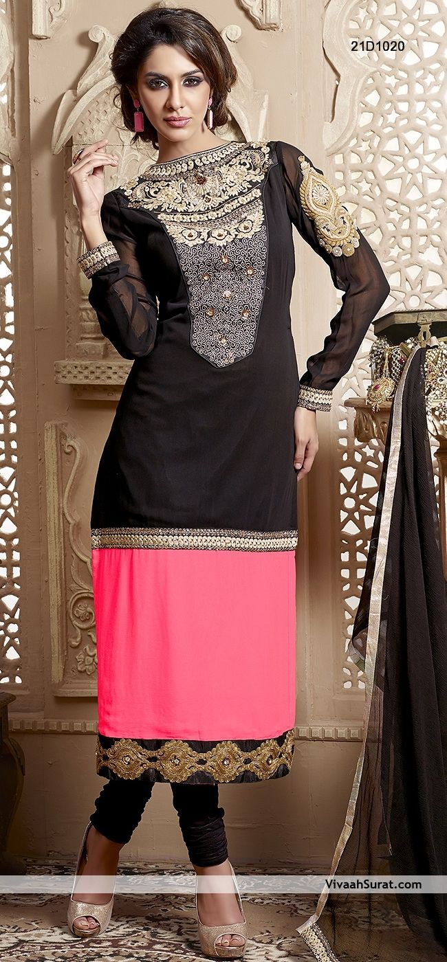 Glamorous Black & Pink Contrast Georgette Churidar Suit, Item Code: 21D1020, Price: Rs3,063,
