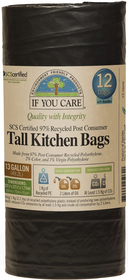 If You Care Recycled Tall Drawstring Kitchen Bin Bags - 49L - 12 Bags   Ethical Superstore £3.40