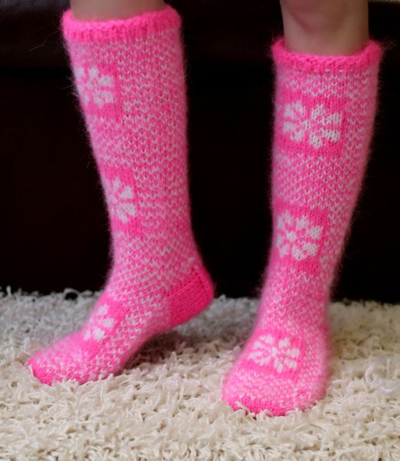 Icelandic pink and white thick hand knitted Christmas mohair socks leg warmers by SuperTanya