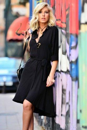 Μαύρο ασύμμετρο φόρεμα, εντυπωσικό και άνετο! Κομψό, ιδιαίτερο και στυλάτο! Κλείνει μπροστά με κουμπιά, ζώνη. Μακρυμάνικο και ασύμμετρο. Υπέροχο σχέδιο! Αναδείξτε την θηλυκή σας πλευρά! Καταπληκτικό φόρεμα! Ακαταμάχητα εντυπωσιακές! Κομψό φόρεμα για ξεχωριστές στιγμές!    Μεγέθη : Large  Χρώμα : Μαύρο  Σύνθεση : 65%PES 30%VIS 5%EL