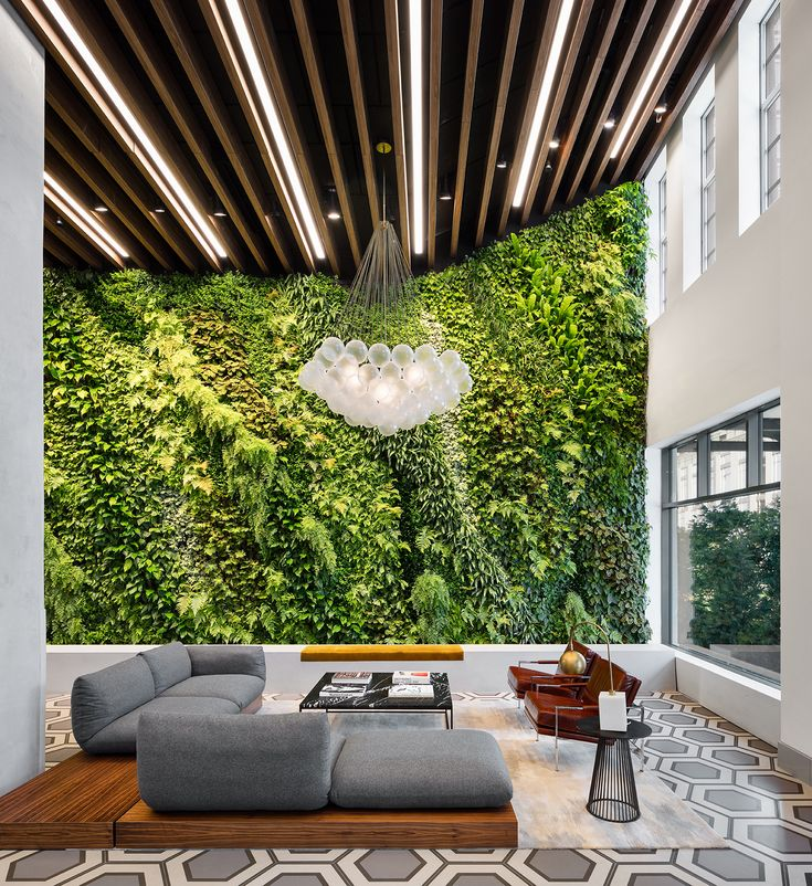Williamsburg's Austin Nichols House reveals amenities including jam rooms, movie theater - Curbed NYclockmenumore-arrownoyes : The lobby features a plant wall with 25 different species