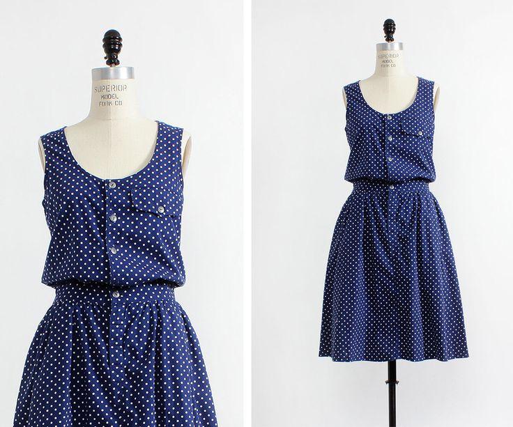 Navy Polka Dot Dress M • Lizwear Dress with Pockets • Cotton Summer Dress • Tank Dress • Flowy Dress • Navy Blue Dress   D475 by OmniaVTG on Etsy https://www.etsy.com/listing/275565600/navy-polka-dot-dress-m-lizwear-dress