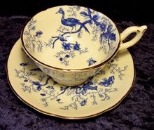 Coalport ~ Cairo Blue Peacocks ~ Tea Cup and Saucer (Ruby Lane)