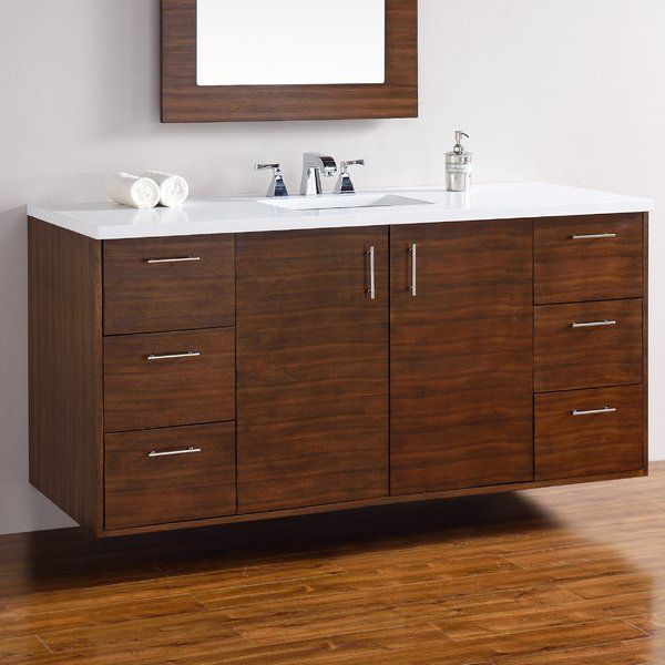 Mercury Row Elbridge 60 Wall Mounted Single American Walnut Hardwood Base Bathroom Vanity S With Images Bathroom Vanity Base Single Bathroom Vanity James Martin Furniture