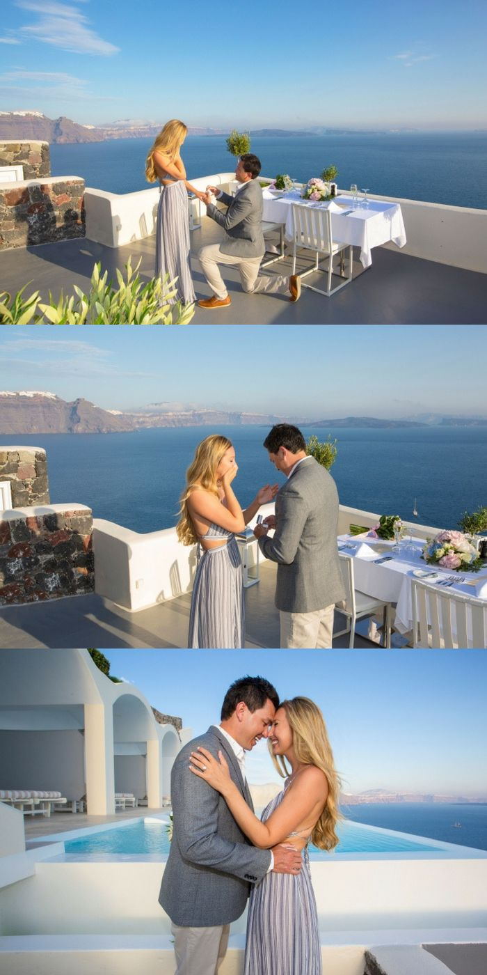 Swooning over this destination proposal in Greece! The sunset was perfectly timed as he got on one knee.