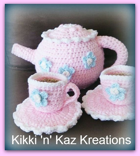 Crocheted Baby Pink Tea Set for Two by KikkinKazKreations on Etsy, $30.00