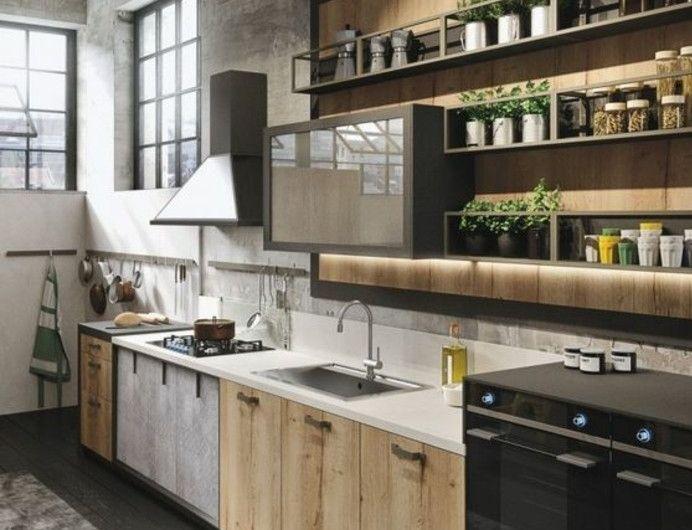 Meuble Cuisine Industriel | 25 Melhores Ideias De Cuisine Industrielle Bois No Pinterest