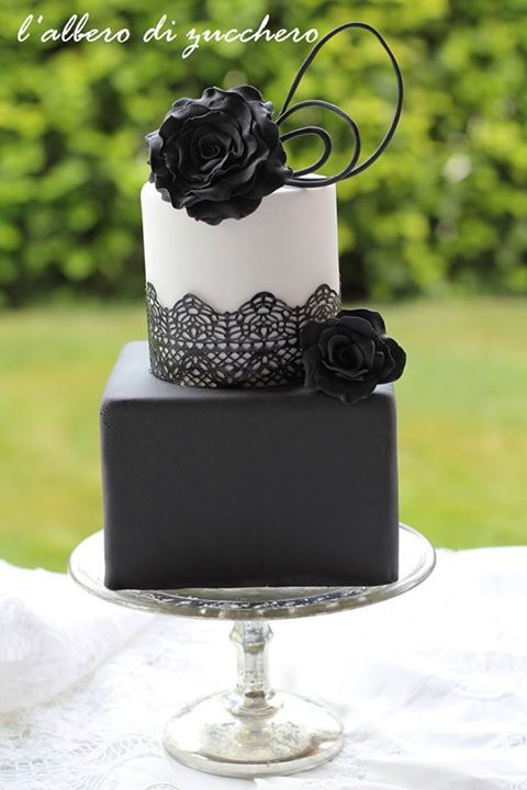 Beautiful Black Lace Two Tiered Wedding Cake