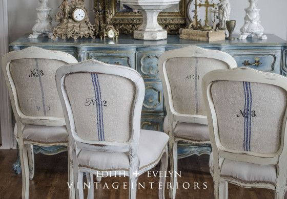 """The backs of the chairs were stenciled with a number (from Maison de Stencils). One of the grain sacks was monogrammed with """"VI"""" which also shows on the back. ~ by Cindy of Edith and Evelyn."""