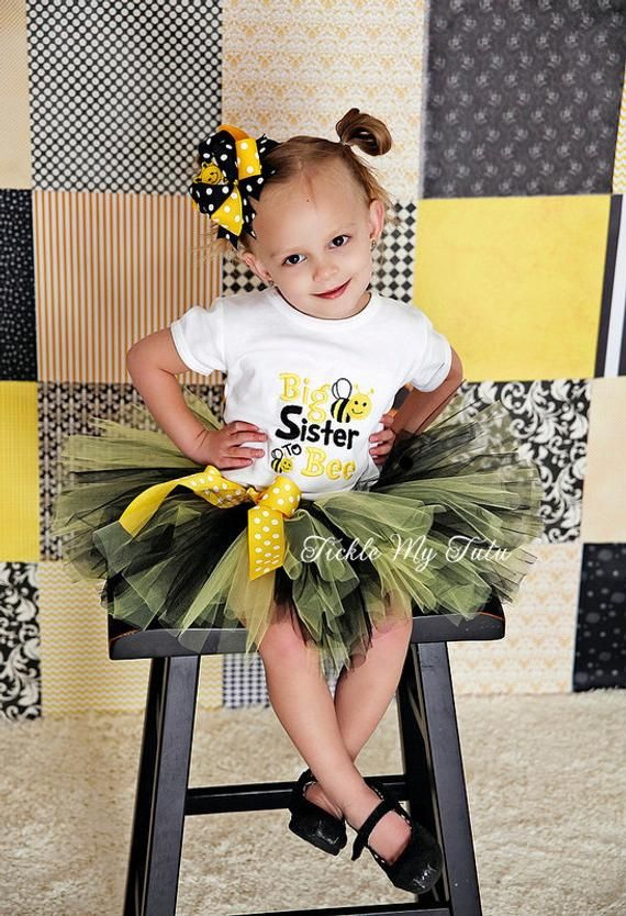 Big sister to bee Tutu Outfit-Bee baby shower sister Outfit-Bee sex reveal Tu …   – Products