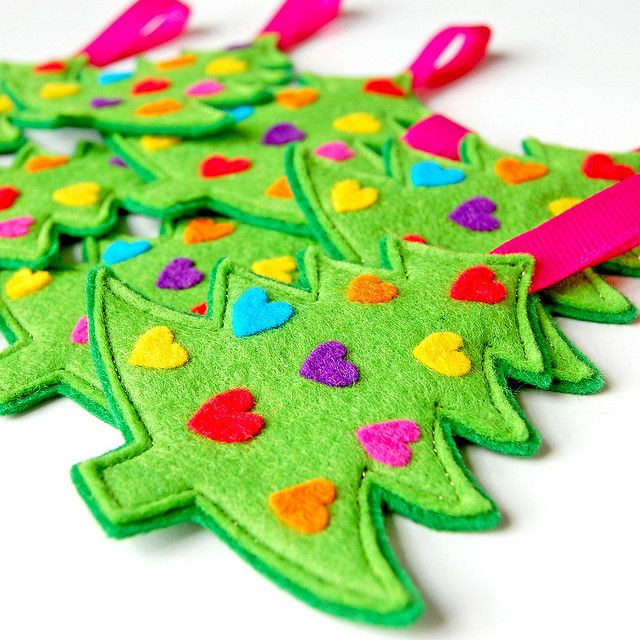 Felt Christmas ornament... kids craft.  pre-cut trees and provide ornaments for kids to decorate.