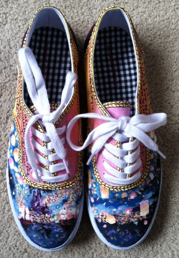 Custom Handpainted Tangled Shoes dued were do u goe thoes shoes i want them they are so cute
