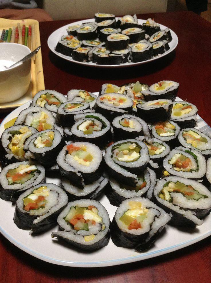 Homemade kimbap,,;)))in home korea-seoul