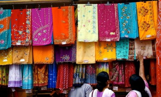 #BackpackerFashion Fabric at an #Indian market. Usually ends up as a sarong on #Goa Beach :)
