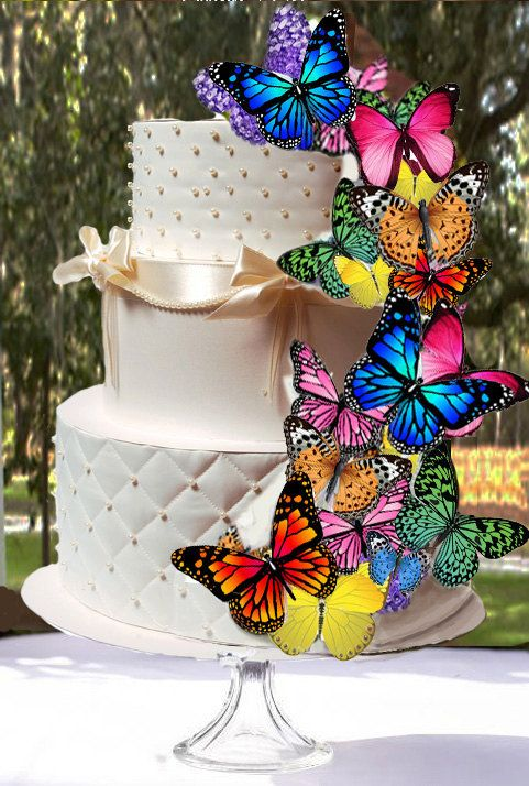 30 edible butterfly wafer cake decorationscupcake toppers