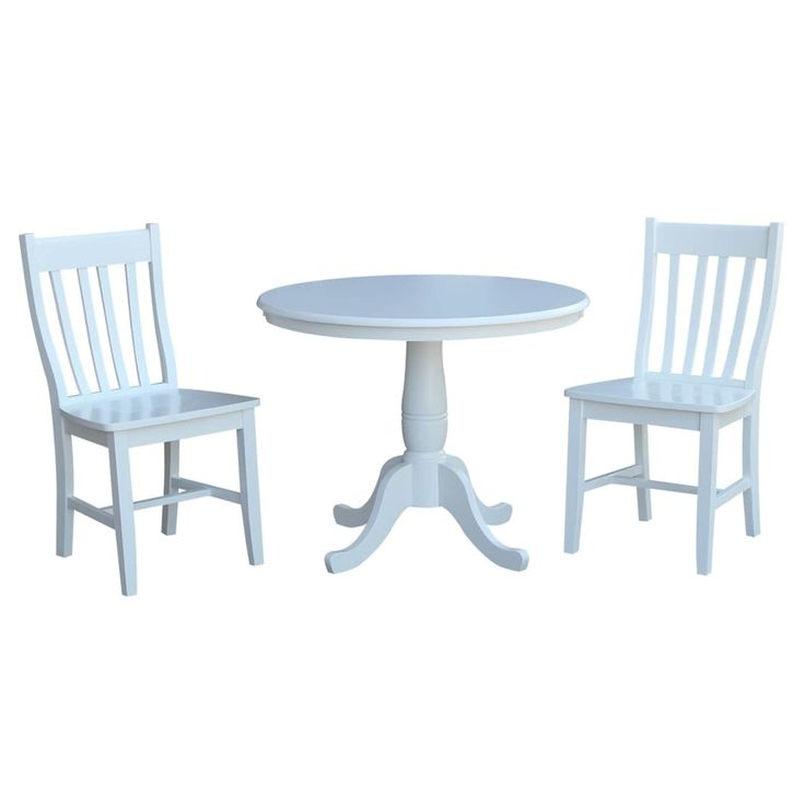 International Concepts 36 Round Top Pedestal Table with 2 Cafe Chairs - Set of 3, White, Size 3-Piece Sets