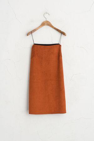Suedette Strappy Dress, Brown