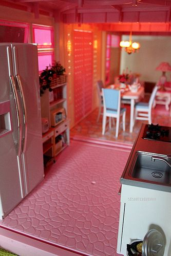Re-Decorated Kitchen of Barbie's Pink A-Frame Dreamhouse, 1980's