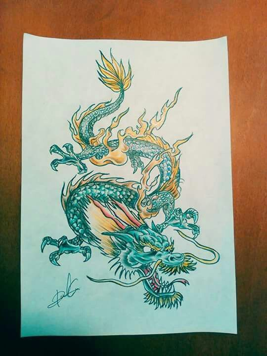 Dragon a color Diseño disponible para tatuar