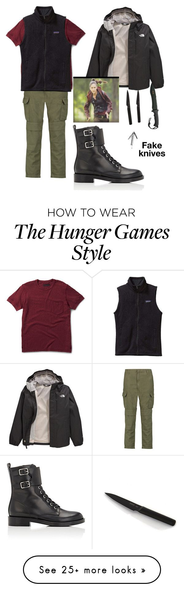 """""""Diy clove costume(hunger games)"""" by cheri-anne-g on Polyvore featuring Dr. Martens, rag & bone, Patagonia, Gianvito Rossi and The North Face"""